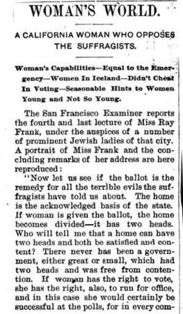 """A California Woman Who Opposes the Suffragists"" Article About Ray Frank's Opposition to Suffrage, Page 1"