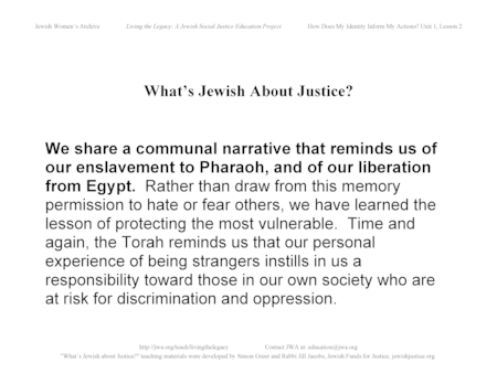 """What's Jewish About Justice?"" Signs: We Share a Communal Narrative..."