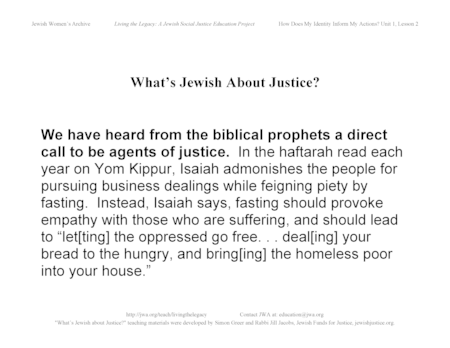 """What's Jewish About Justice?"" Signs: ...From the Biblical Prophets a Direct Call to be Agents of Justice"
