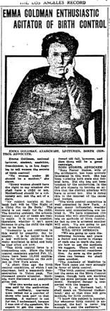 """Emma Goldman Enthusiastic Agitator of Birth Control"" from The ""Los Angeles Record"""