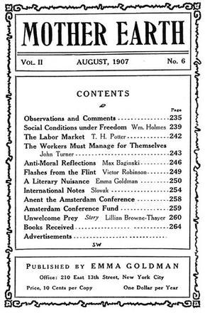 "Emma Goldman's ""Mother Earth,"" Table of Contents, August 1907"