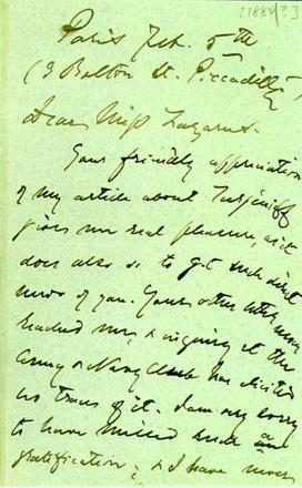 Letter from Henry James to Emma Lazarus, February 5, 1884, page 1