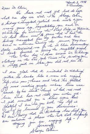 Letter from Sharyn Cohn to Gertrude Elion, March 3, 1998