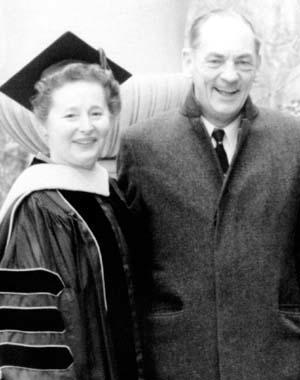 Gertrude Elion and Dr. George Hitchings at George Washington University, 1969