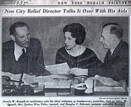 """New City Relief Director Talks it Over With His Aids,"" New York Herald Tribune, April 13, 1935"