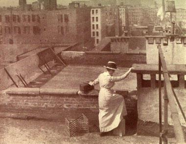 Visiting Nurse on Tenement Roof, 1915