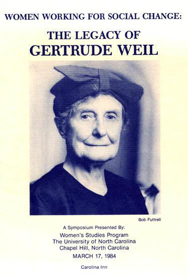Gertrude Weil Legacy Symposium, 1984, Page 1