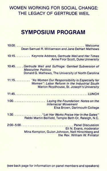 Gertrude Weil Legacy Symposium, 1984, Page 2