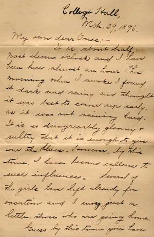 Letter from Gertrude Weil to her Family, March 29, 1896, page 1